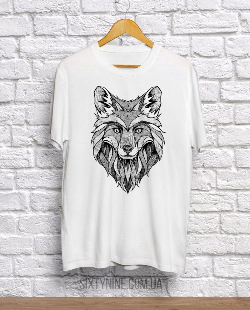футболка с лисой черно белая